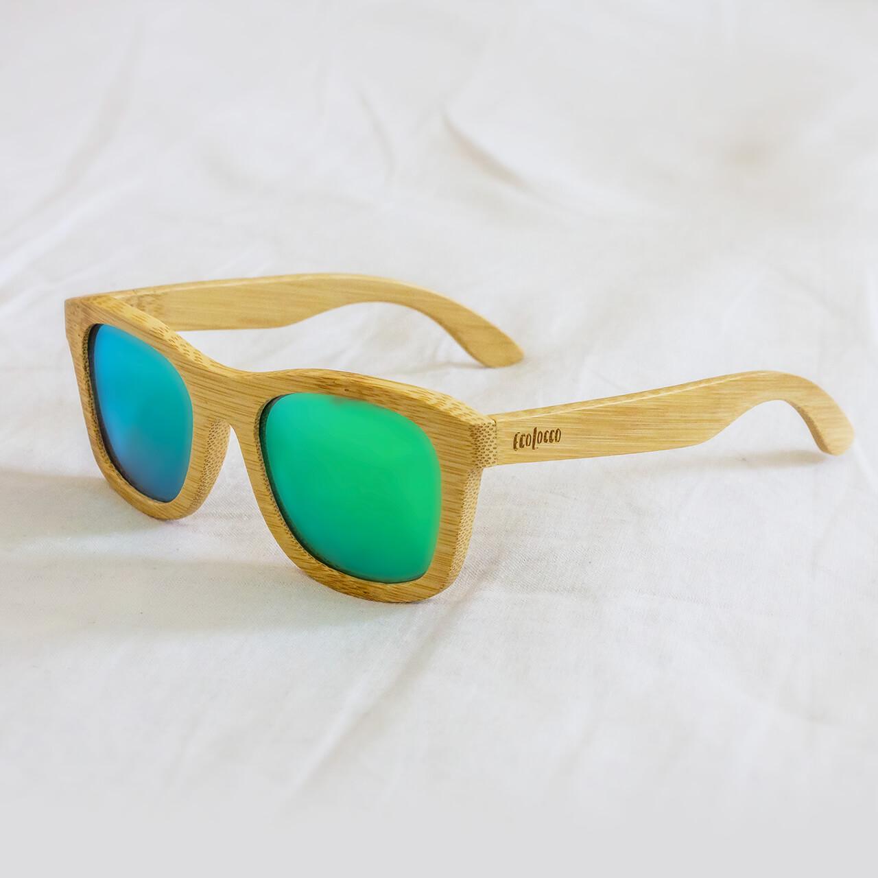 Bambusové slnečné okuliare tyrkysové