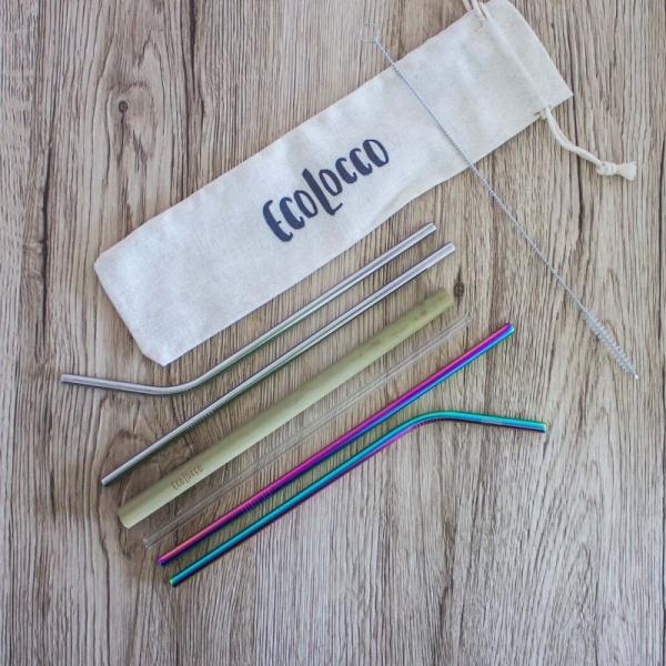 Obľúbený set eko slamiek – kovové, sklenené, bambusové