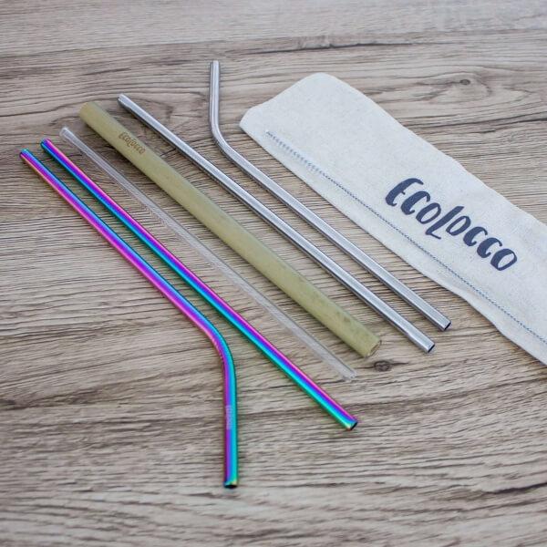 Ekologické slamky –obľúbený set kovových, sklenených a bambusových slamiek