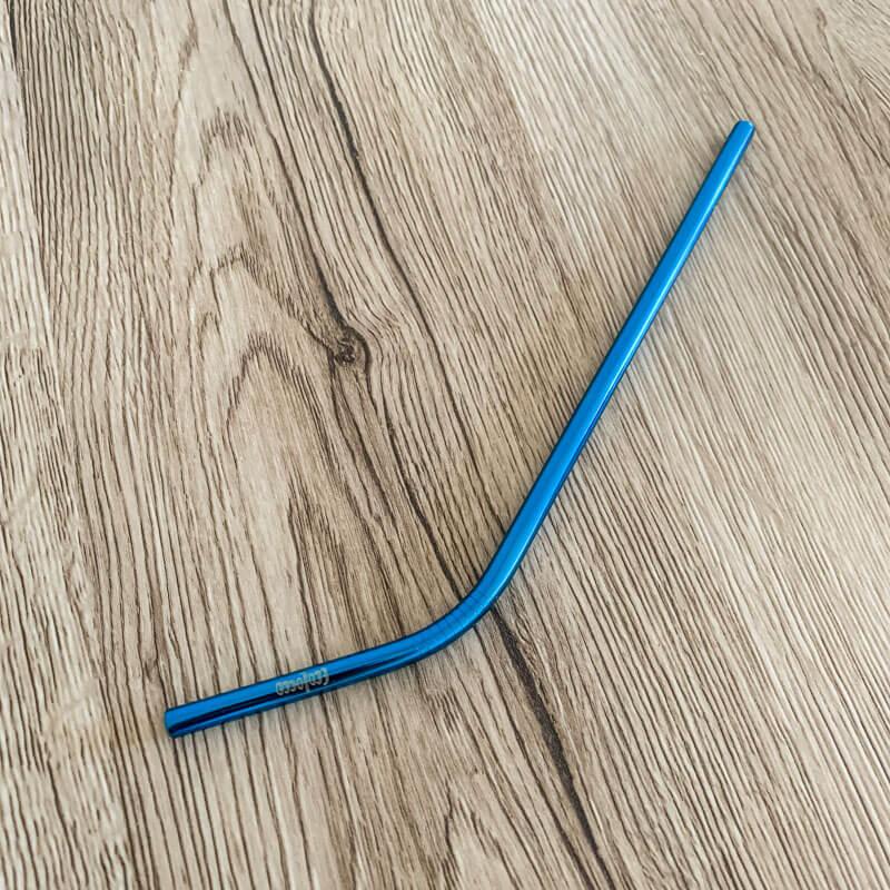 Modrá ekologická kovová slamka