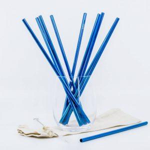 Modrá kovová slamka – rovná