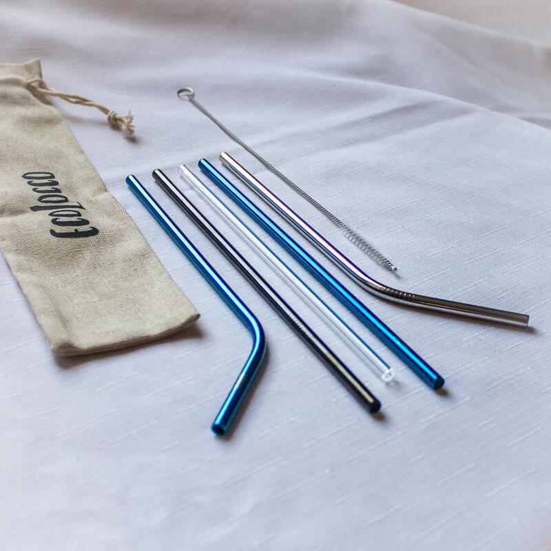 Zimný set slamiek – modrá, strieborná, sklenená a čierna ekologická slamka
