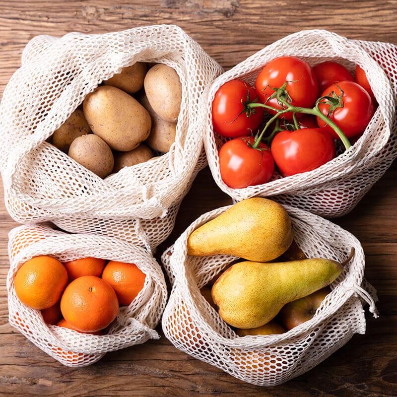 Bavlnené sieťové vrecko na zeleninu a ovocie