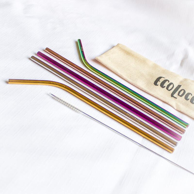 JESENNÝ set eko slamiek – 5 slamiek s čistiacou kefkou a eko vrecúškom