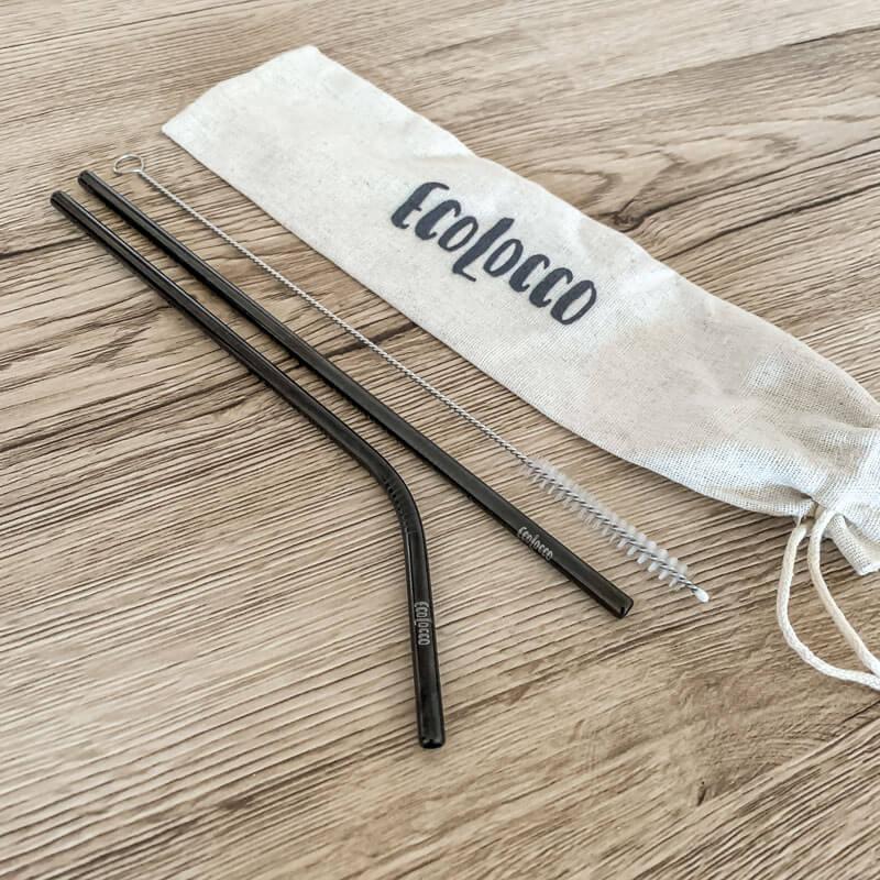 Čierne kovové slamky –set 2ks s vrecúškom a čistiacou kefkou
