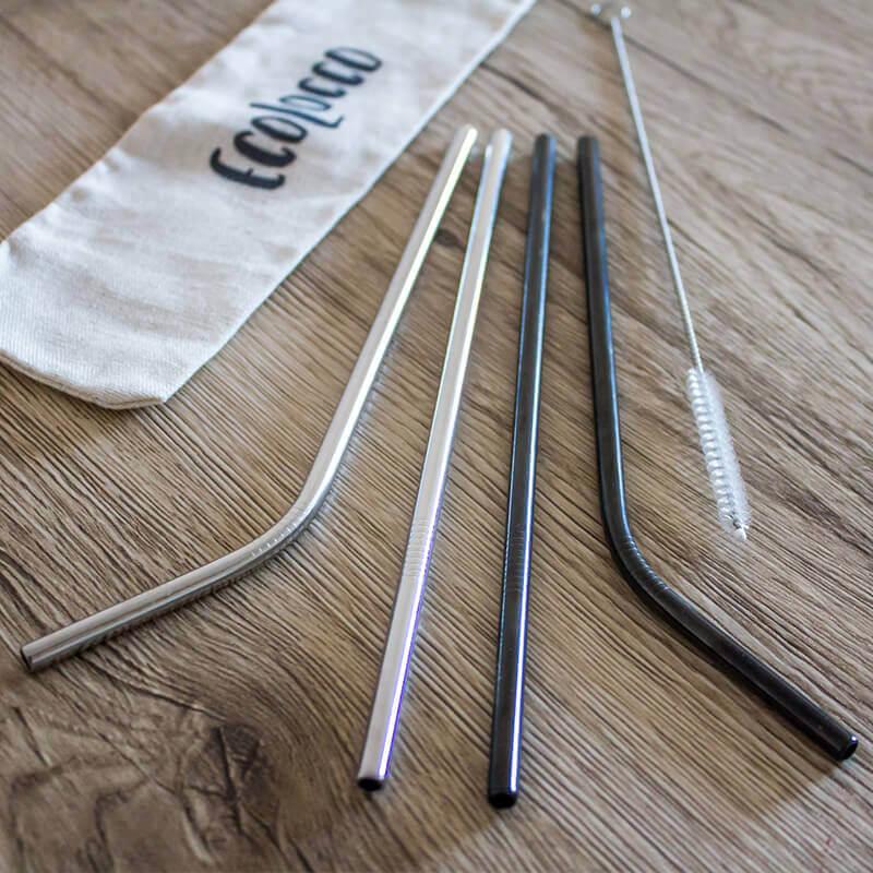 Black & Silver set – kovové slamky 4ks s vrecúškom a čistiacou kefkou