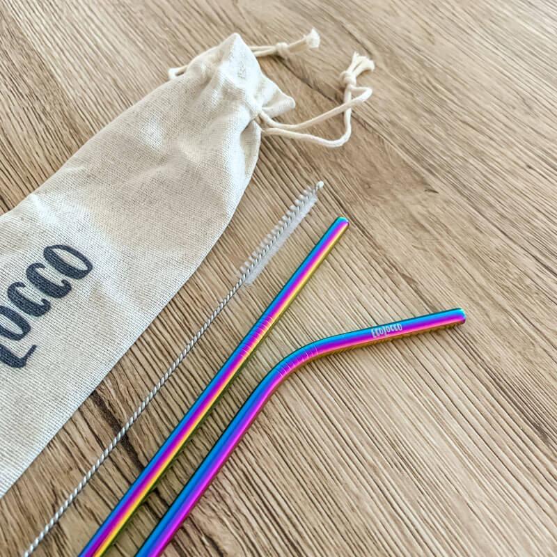Farebné kovové slamky –set 2ks s vrecúškom a čistiacou kefkou