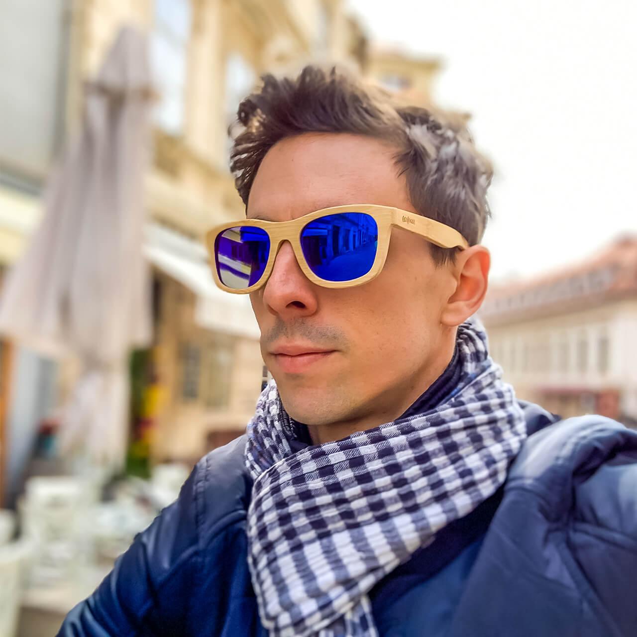 """Výpredaj: Bambusové slnečné okuliare s polarizačnými sklami """"Turquoise"""""""