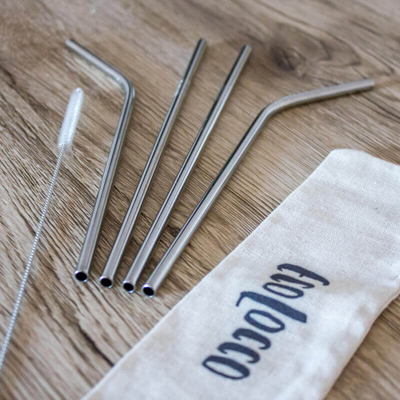 Kovové slamky – klasický set 4ks s vrecúškom a čistiacou kefkou