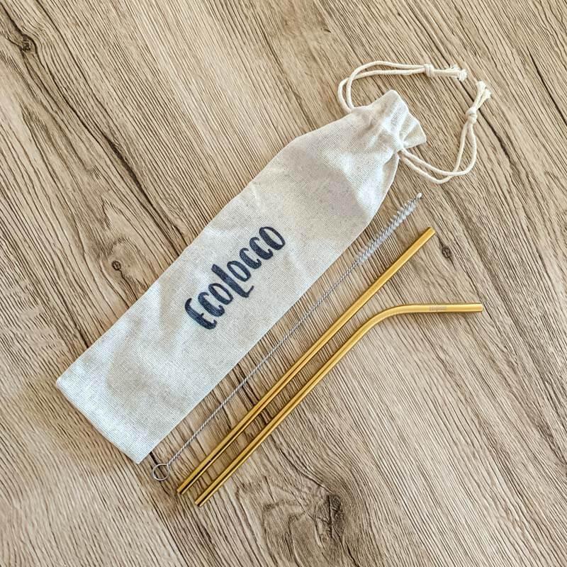 Zlaté kovové slamky –set 2ks s vrecúškom a čistiacou kefkou