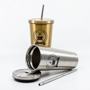Kovový termopohár so slamkou na teplé a studené nápoje