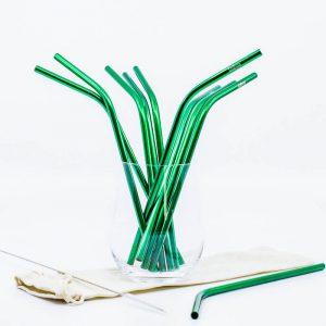Zelená kovová slamka – zahnutá